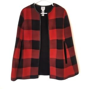 Fleece Red and Black Plaid Cape